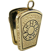 Antique Victorian Enameled 14K Gold Masonic Keystone Hair Memorial Locket Dated 1863