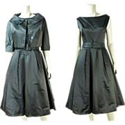1950's Vintage Iridescent Cocoa / Green Silk Belted Dress And Cropped Jacket