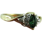 Vintage 14K Gold Green Marquis Tourmaline And Diamond Ring