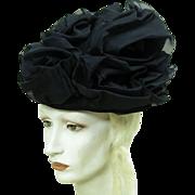 Vintage Schiaparelli Hat With Black Organdy Roses