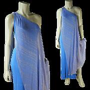 Fabulous 1960's Vintage Elizabeth Courtney One Shoulder Silk Lame / Lamé Dress