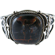 Vintage Native American Silver And Petrified Wood Agate Bracelet