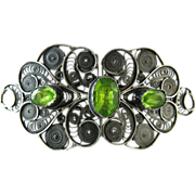 Antique Silver Filigree Buckle With Peridot Green Paste Stones