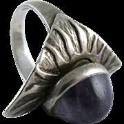Vintage Sterling Silver Amethyst Cabochon Modernist Ring Size 8.5