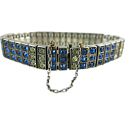 Vintage Circa 1920 Diamonbar Sterling Silver Sapphire Blue & Clear Rhinestone Bracelet