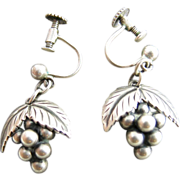 Vintage Danish Sterling Silver Grape Dangle Earrings By S. Christian Fogh