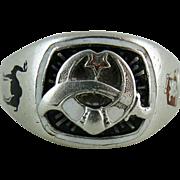 Vintage Enameled Sterling Silver Mystic Shrine Masonic Mens Ring Size10.5