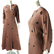 Elegant Vintage 1940's Beaded Cocoa Rayon Dolman Sleeve Evening Dress