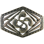 Vintage French Art Deco Silver Brooch With Basque Cross By H. Teguy