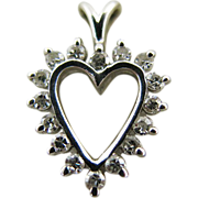 Vintage 14K White Gold Diamond Heart Pendant