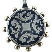 Antique Victorian Sterling Silver And Niello Locket