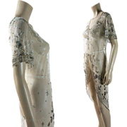 Extravagant Vintage Circa 1915 Beaded Tulle Overdress