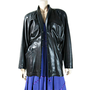 Vintage 1980's Azzedine Alaïa Structured Leather Jacket With Belted Back