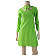 Lively 1960's French Mod Dress In Vivid Lime Green Rayon With Renal Paris Label