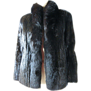 SOLD Vintage 1980's Saga Natural Black Mink Jacket ON LAYAWAY