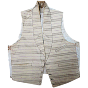 Antique Victorian Circa 1850 Mens' Striped Ivory Wool Vest / Waistcoat
