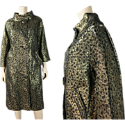 SOLD Elegant Vintage 1960's Lamé / Lame Coat With An Art Deco Influenced Pattern In Black and