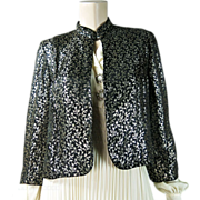 Stylish 1940's Vintage Lamé / Lame Jacket - Black And Gold
