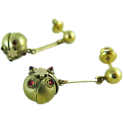 Antique Victorian Etruscan Style Dangle Earrings With Threaded Posts