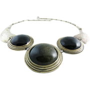 Dramatic Vintage Sterling Silver And Obsidian Necklace