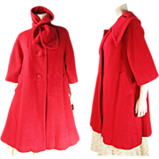 SOLD Vintage Circa 1960 Lilli Ann Crimson Red Wool Coat With Scarf Collar
