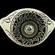 Vintage 10K Gold Diamond Ring By L.G. Balfour - Unusual Company Logo Motif