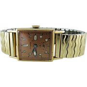 Vintage Men's Retro 14K Gold Jeweled Cypres Watch / Wristwatch With Running 17 Jewel Movement