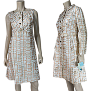 1960's Vintage Gino Charles Lamé / Lame Dress & Coat - Old Store Stock With All hang Tags