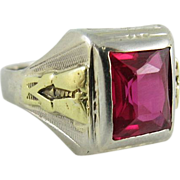 Vintage Men's Art Deco 14K White And Yellow Gold Ruby Ring Size 10.5 ON LAYAWAY