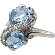 Vintage 14K White Gold, Blue Zircon And White Topaz Cocktail Ring