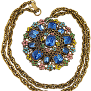 1930's Vintage Enameled Czech Pendant Necklace With Wheat Chain And Sapphire Paste Stones