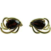Vintage 14K Yellow Gold Garnet And Diamond Earrings - Post And Clutch