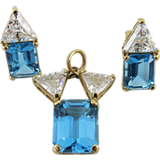 Estate 14K Yellow Gold Blue Topaz Pendant And Post Earrings Set