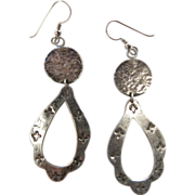Vintage Hand-Stamped Native American Silver Dangle Earrings - 3 1/4-inches