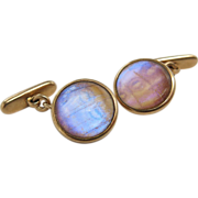 Rare Vintage 14K Gold Rock Crystal And Iridescent Butterfly Wing Cufflinks