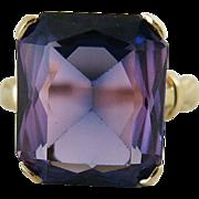 Vintage 14K Gold 12-Carat Color Change Created Sapphire Cocktail Ring
