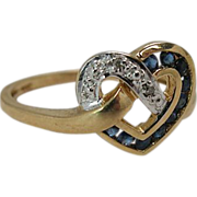 Charming Vintage 10K Gold Sapphire And Diamond Heart Ring