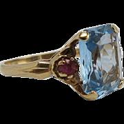 Vintage 14K Gold Blue And Red Spinel Ring