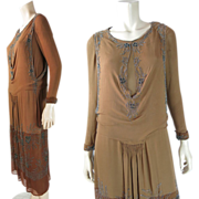 1920's Vintage Art Deco Cocoa And Chocolate Silk Dress With Cut-Steel Beadwork And ...