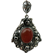 Vintage Peruzzi Sterling Silver Rose Pendant With Carnelian Cabochon And Matching Bail