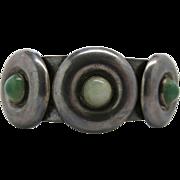 Distinctive Vintage 980 Silver Dyed Green Onyx Cuff Bracelet