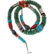 Vintage Santo Domingo Native American Silver, Turquoise, Coral, Spiny Oyster and Charoite Neck