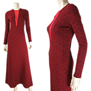 Vintage Rudi Gernreich Wool Jersey Dress With Plunging Peek-A-Boo Front Neckline - Early 1970'