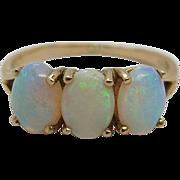 Vintage 14K Gold Three Stone Opal Ring Size 8.25