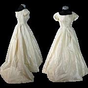 Antique Circa 1850 Victorian Cream Silk Ball Gown With Train