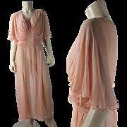 "Vintage 1930's Pink Tissue Silk Chiffon Draped ""Goddess"" Evening Dress"