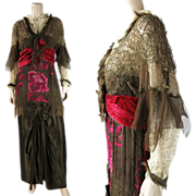 Opulent Antique Circa 1912 Belle Epoque Orientalist Minaret Tunic Evening Gown