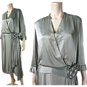 Vintage 1920's Silver Silk Charmeuse Dress In Larger Size