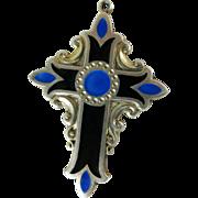 Vintage Enameled Sterling Silver Cross Pendant