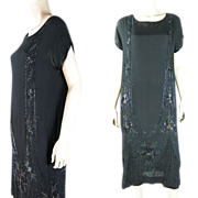 1920's Vintage Art Deco Gold And Black Beaded Crepe Dress